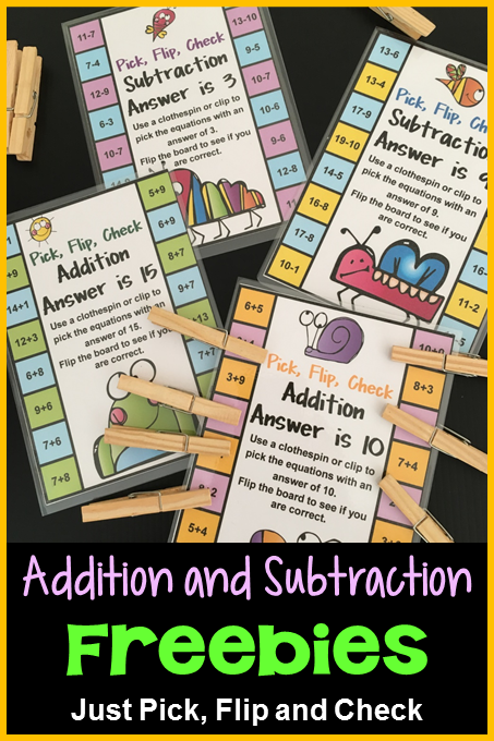 Addition and Subtraction Flip Card Freebie