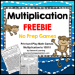 Multiplication Game Freebie