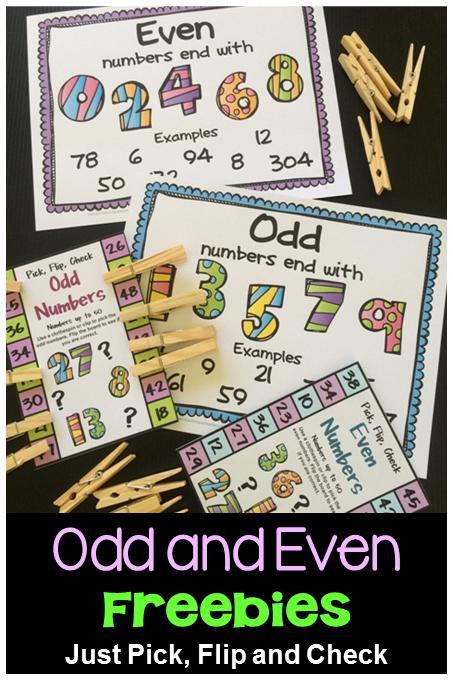 Odd and Even Flip Card Freebie