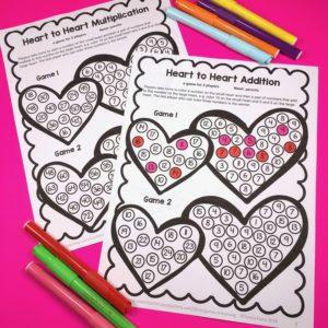 Valentine's Day Math Games Freebies