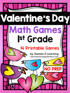 photograph about Printable Math Games for 1st Grade identify Valentines Working day Math Online games